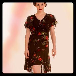 Hell Bunny Retro Pin-up Dark Floral Dress